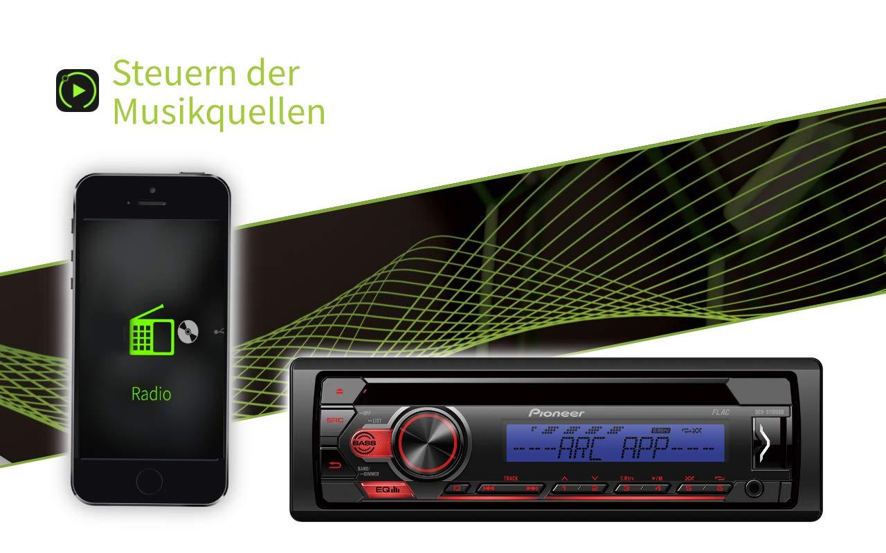 Pioneer-DEH-S110UB-1DIN-RDS-Autoradio-mit-roter-Tastenbeleuchtung-Display-wei-Android-Untersttzung-5-Band-Equalizer-CD-MP3-USB-AUX-Eingang