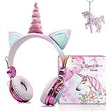 TCJJ Cuffie Wireless Per Bambini, Ragazze Cuffie Bluetooth Unicorno Per Con Mic, Cuffie Da Gioco Per Bambini Con Limitazione