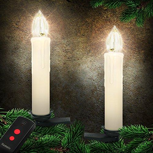 Jago® 20 LED Baumkerzen Kerzenlichter Weihnachtskerzen Christbaumkerzen Weihnachtsbaumbeleuchtung inkl. Fernbedienung Kabellos beige