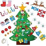 DIY Albero di Natale in Feltro,Albero di Natale in Feltro con Addobbi, Albero di Natale in Feltro con Luci,Feltro Decorativo