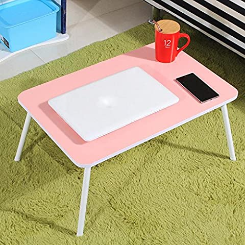 XXTT-Moda portátil mesa plegable, mesa multifuncional de lazybones para camas, dormitorio simple mesita 60 * 40 * 29 cm , pink
