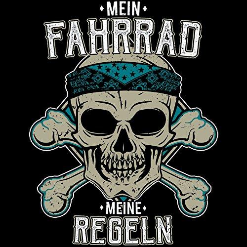 Fashionalarm Herren T-Shirt - Mein Fahrrad - Meine Regeln | Fun Shirt mit Totenkopf & lustigem Spruch für Radfahrer Fahrradfahrer Rad Sport Biker Schwarz