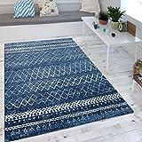 Paco Home Wohnzimmer Teppich Indigo Blau Trend Modernes Skandinavisches Muster, Grösse:120x170 cm