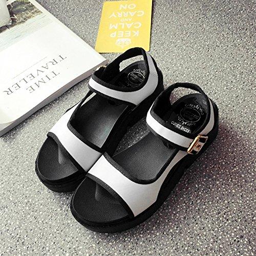 RUGAI-UE Estate sandali donne fondo spesso a fondo piatto per il tempo libero degli studenti scarpe piatte White
