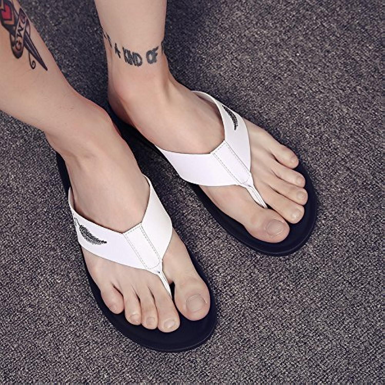 @Sandals Zapatillas Nuevo Verano Hombres Flip Flops Desgaste Zapatillas Cool Moda Resbaladizas,40,15P03 Blanco
