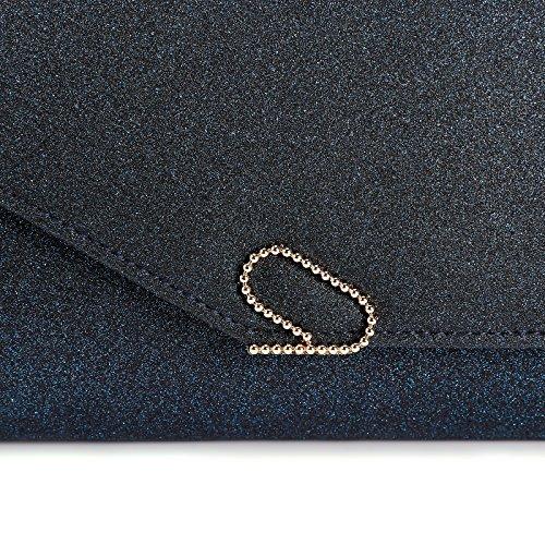 Anladia Damen Clutch Umhaengetasche Handtasche glitzend Abendtasche mit schicken Schnalle hochzeit Party Fest 4 Farbe Dunkelblau