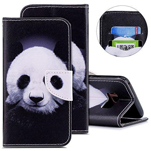 Kompatibel mit Handytasche Galaxy S8 Plus Lederhülle Bookstyle Leder Klapphülle Flip Case Brieftasche Hülle Leder Handyhülle Tasche Magnetverschluss Ledertasche Kartenfächer,Lustig Schwarz Panda