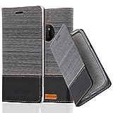 Cadorabo Coque pour Nokia Lumia 830, Gris Noir Design Tissue-Simili Cuir Housse de Protection Portefeuille Etui Case Cover pour Nokia Lumia 830 - Stand Horizontal et Fente pour Carte Poche Folio