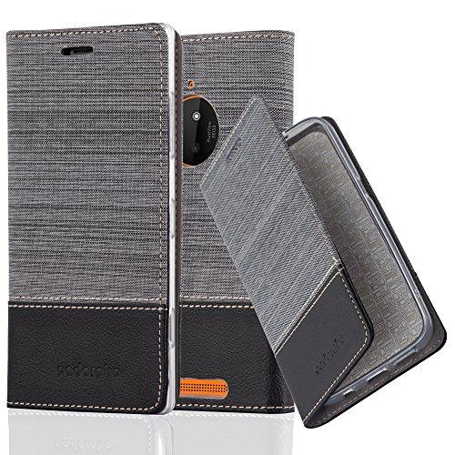 Cadorabo Hülle für Nokia Lumia 830 - Hülle in GRAU SCHWARZ – Handyhülle mit Standfunktion und Kartenfach im Stoff Design - Case Cover Schutzhülle Etui Tasche Book