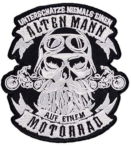 Motorrad-club Patches (Bügel Aufnäher Biker Unterschätze nie einen Alten Mann auf Motorrad)
