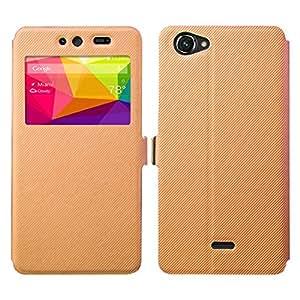 BLU Dash X Case - Asmart Slim Stand Quick View Window Side Flip Pu Leather Cover Case for BLU Dash X (Coffee Brown)