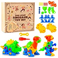 AGREATLIFE Take Apart Dinosaur Toy Set with Tools - Create and Play 3 Dinosaur Assemble Toys