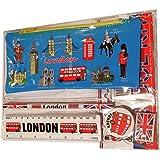 # 1más vendido todas en una escuela Kit–Souvenir de Londres–/bolígrafos, lápices, sacapuntas, goma de borrar/Goma, regla (pulgadas/cm)–Trousse/federmappchen/caja de lapices/Astuccio–azul–todo Londres–Taxi negro/rojo caja de teléfono/Autobús de Londres/guardia real/Beefeater/Torre de Londres/Big Ben/Westminster Abbey/puente de la torre/Catedral de San Pablo–producto de alta calidad