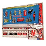 –Souvenirde Londres –Trousse à crayons, Taille-crayon, Gomme en caoutchouc, Règle (en cm)–en caoutchouc –Bleu–Tout Londres :taxi noir/rouge, cabine téléphonique, bus à impériale, gardes royaux, hallebardier, Tour de Londres, Big Ben, Tower Bridge, Abbaye de Westminster, CathédraleSaint-Paul –Produit de qualité supérieure