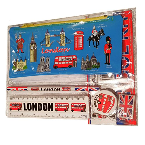 # 1 Bestseller-alle in einer Schule Kit ? London Souvenir ? Kugelschreiber/Bleistift Fall, Anspitzer, Radiergummi/Gummi, Lineal (Zoll/cm) ? TROUSSE/Federmappchen/Caja de lapices/Astuccio ? Blau ? Alles London ? Black Cab/rot Phone Box/London Bus/Royal Guard/Beefeater/Tower of London/Big Ben/Westminster Abbey/Tower Bridge/ST PAUL 'S CATHEDRAL ? Top Qualität Produkt -