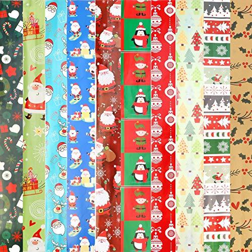 Howaf 10 Fogli Piegato Carta Regalo Natalizia per Bambini, Papier Cadeau de Noël, 74 cm x 51cm, 10 Natale Disegni -Bambini Pupazzo di Neve, Santa, Albero di Natale, R
