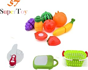 SuperToy(TM) Realistic Sliceable Fruits Cutting Play Toy Set ( Multi Color 11 Pec )