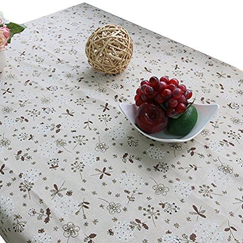 NiSeng Blumenmuster Tischdecken mit Spitze Baumwolle Leinen Tischwäsche Rechteckig Eckig Rund Tischdecke Abwaschbar Grau 140x220 cm