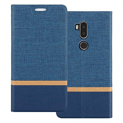 Shanphone Alcatel A7 XL Hülle, Dünn Mischfarben Pu Leder Folio Flip Klapphülle Etui Schutzhülle Tasche für Alcatel A7 XL, Blau