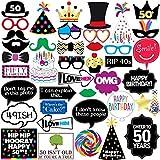 Sterling James Co. Decorazioni per Foto 50° Compleanno - 40 Pezzi - Scorta di Immagini, Decorazioni e Gadgets per Un Divertente 50° Compleanno