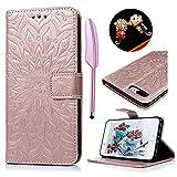 iPhone 7 Plus Flip Cover, Custodia Libro Pelle PU e TPU Silicone con Funzione Supporto Chiusura Magnetica Portafoglio Libretto Bumper Case per iPhone 7 Plus, Girasole Oro Rosa