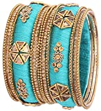 NMII Silk Thread Bangle for Women & Girls on Wedding & Festive Occasions (SkyBlue-2.4)