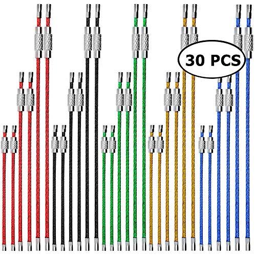 CKANDAY 30 Stück farbige Nylon beschichtete Edelstahl-Metalldraht-Schlüsselanhänger, 3 Größen 4