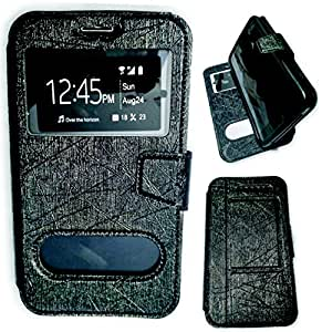 BKDT Marketing Leather look Flip Cover for Samsung Galaxy Exhilarate i577 With Stand - Black