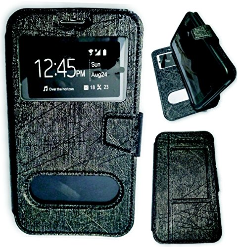 BKDT Marketing Leather finish Flip Cover Case Stand Diary Style for Samsung Galaxy S4 I9295 Active with Dislay Window and Stand - Black  available at amazon for Rs.320
