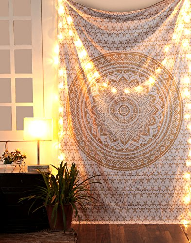 RAJRANG Psychedelic White Gold Twin Cotton Printed Bohemian Mandala Hanging Wall Tapisry Hippie Room Throw College Dorm Decor, 213 x 137 cm - Urban Gold Wand