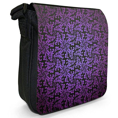 Elegante Blumentapete Kleine Schultertasche aus schwarzem Canvas Violett