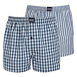 Jockey Woven Boxer Blue Navy Check Stripe 2 Pack