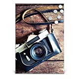 BANJADO Design Magnettafel Edelstahl | Schreibtafel magnetisch 35cm x 50cm | Memoboard mit 6 Magneten | Magnetwand mit Motiv Alte Kamera
