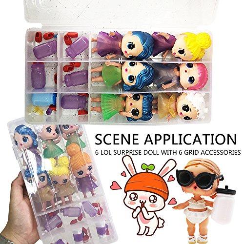 TianranRT Bandeja de muñecas sorpresa Bandeja 18 Compartimientos de almacenamiento de juguetes Accesorios para cajas de muñecas LOL Sorpresa