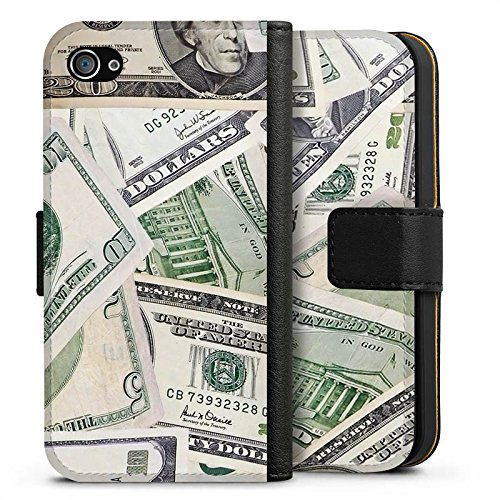 Apple iPhone X Silikon Hülle Case Schutzhülle Geld Dollar Scheine Sideflip Tasche schwarz