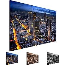 Bilder 120 x 80 cm - Frankfurt am Main Bild - Vlies Leinwand - Kunstdrucke -Wandbild - XXL Format – mehrere Farben und Größen im Shop - Fertig Aufgespannt !!! 100% MADE IN GERMANY !!! - Stadt – Skyline 608931a
