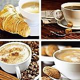 Artland Leinwand-Bild fertig aufgespannt auf Holzfaserplatte mit Motiv S, Dudzinska, haveseen photocrew Bistro, Kaffeetasse und Zeitung, Milchkaffee, Cappuccino Getränke Kaffee Foto Creme D1GU