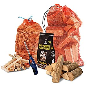 THE CHEMICAL HUT® Fire Wood Pack- 15kg of Kiln Dried Wooden Logs + 3kg Kindling + 96 pk of Eco Firelighters + Clipper Lighter - Comes with THE LOG HUT® Woven Sack.