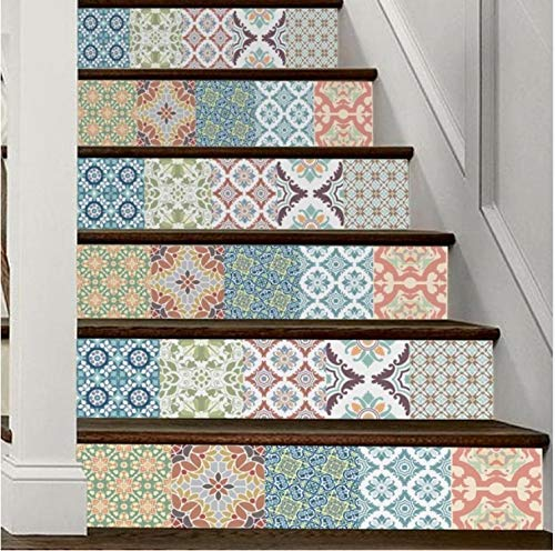 DDBBhome Home Decor DIY Schritte Aufkleber Abnehmbare Treppen Aufkleber Home Decor Keramikfliesen Muster Wandaufkleber Home Deco Spiegel, 13Pcs