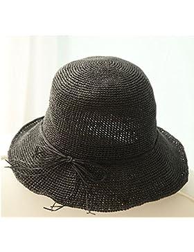 LVLIDAN Sombrero para el sol del verano Lady Anti-sol gran lado ancho del sombrero de paja plegable negro