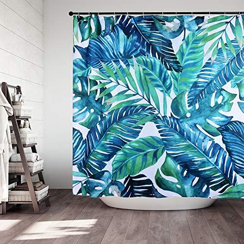 RainBabe Duschvorhang 180cmx180cm 3D Grün Pflanzen Tropical Palm Blätter Muster Wasserdicht Shower Curtain mit 12 Vorhanghaken -