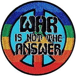 La guerra no es la respuesta Símbolo de la paz contra la guerra del Hippie Patch '7.4 x 7.4 cm' - Parche Parches Termoadhesivos Parche Bordado Parches Bordados Parches Para La Ropa Parches La Ropa Termoadhesivo Apliques Iron on Patch Iron-On Apliques