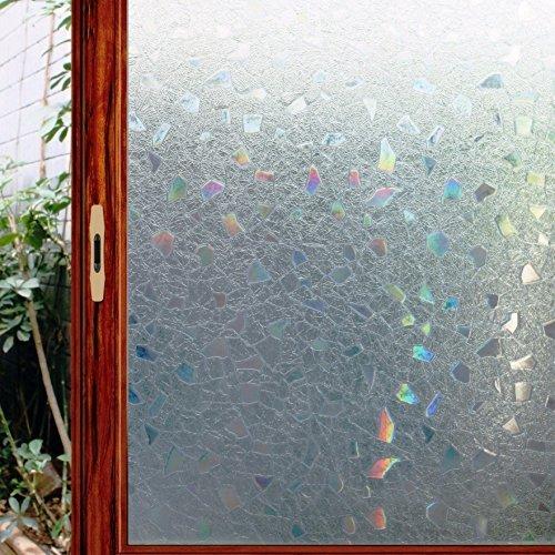 viclover 3D Brechungsindex kein Kleber Frosted Fenster Film klammert sich an Privatsphäre Statische selbstklebend selbst gebeizt Glas Dekoration Filme, Vinyl, #3, 17.7-by-78.7-Inch