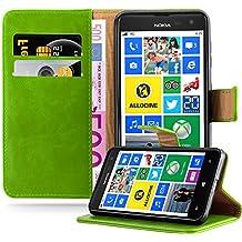 Coque Nokia Lumia 625 en VERT PRÈ de Cadorabo (Design LUXURY) Etui de Protection Complète avec Rabat à Clapet et Stand Horizontal Pratique en Simili-Cuir – Poche Protective Folio Housse Portefeuille avec Fente pour Cartes et Fermoire Magnétique - Flip Case Cover Wallet