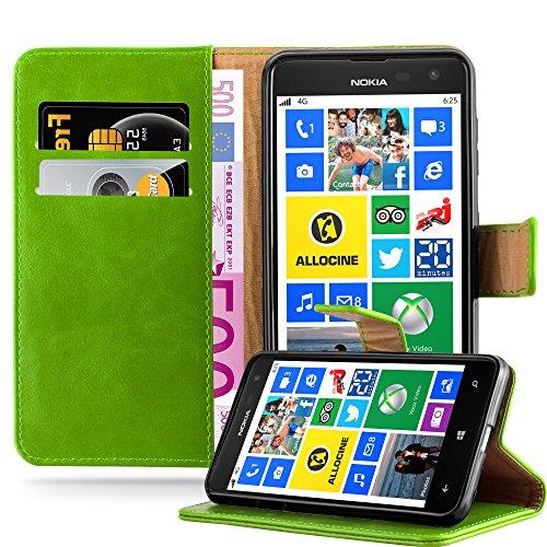 Cadorabo Hülle für Nokia Lumia 625 - Hülle in Gras GRÜN – Handyhülle im Luxury Design mit Kartenfach und Standfunktion - Case Cover Schutzhülle Etui Tasche Book
