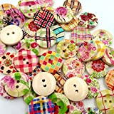 #10: Generic 50pcs Vintage Colorful Flower Wooden Buttons Embellishment Craft DIY 20mm
