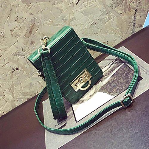 Moda Donne Pu Borsa In Pelle Borsa Spalla Messenger Grande Tote Leather Signore Borsa di Kangrunmy Verde