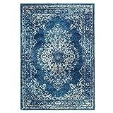 Teppich Flachflor Hochwertig Gabeh mit Klassischen Muster/Ornamente in Blau/Grau Größe 80/300 cm