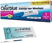 Vorteilspack - 5 x Schwangerschaftstest Frühtest 10 miu/ml + 1 x Clearblue Schwangerschaftstest Digital mit Anzeige der Woche