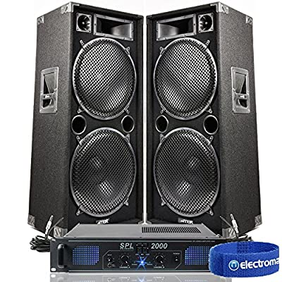 """2x Max Dual 15"""" Party Disco DJ Speakers + PA Amplifier + Cables System 3000W"""